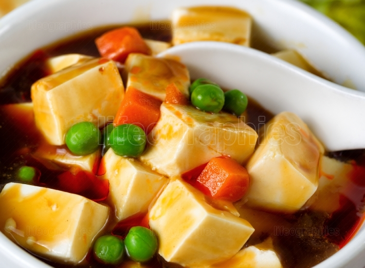 Tofu with vegetable soup dish ready to eat