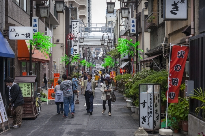 TOKYO - MAY 01, 2015:  Pedestrian street with many fashion bouti