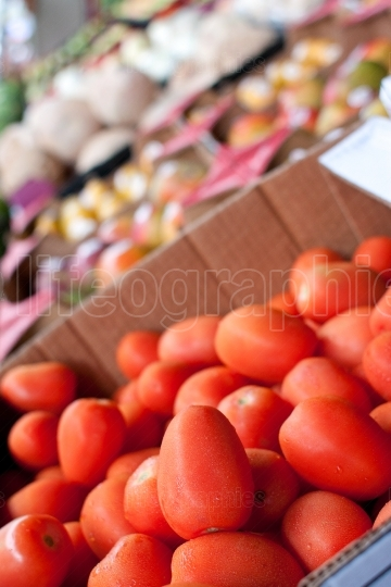Tomatoes And Other Fruits And Vegetables Displayed At Farmers Ma