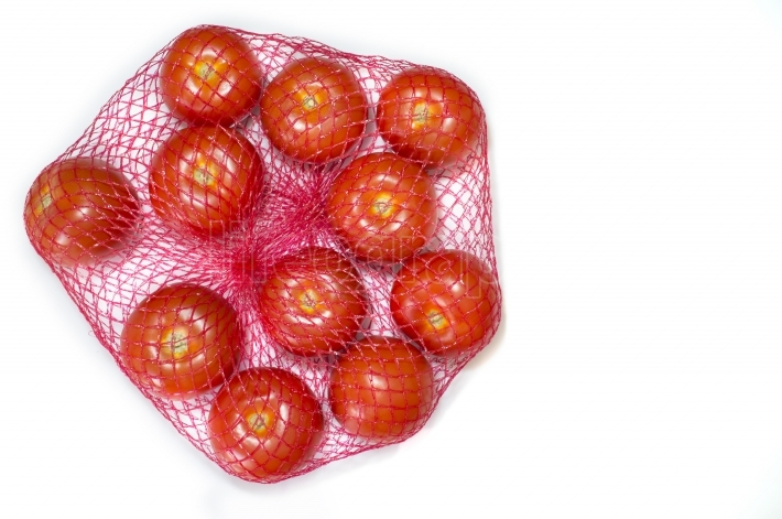 Tomatoes packaged in red plastic net