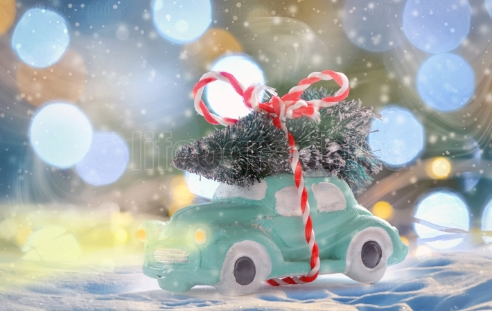 Toy car carrying a Christmas tree