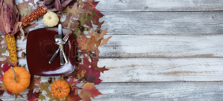 Traditional Autumn Thanksgiving Dinner Setting Background