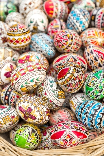 Traditional colorful decorated Easter eggs