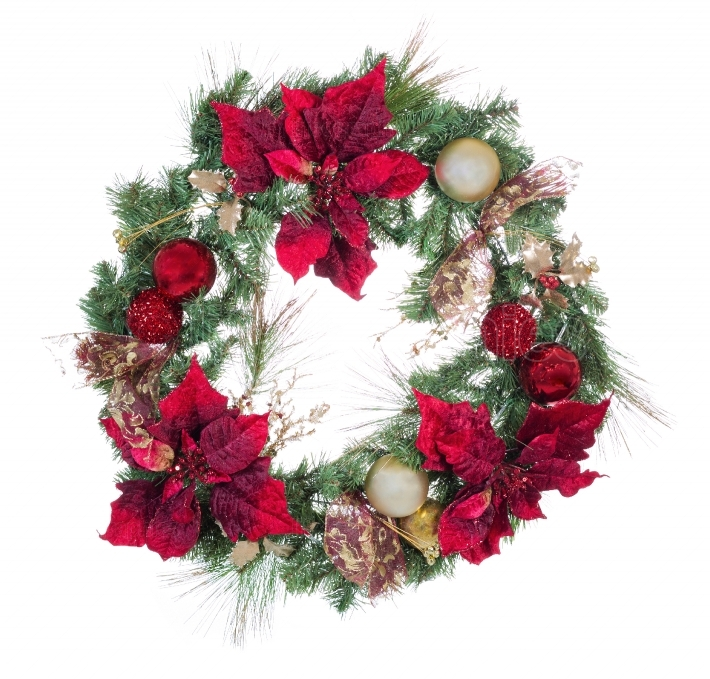 Traditional holiday Christmas wreath isolated on white backgroun