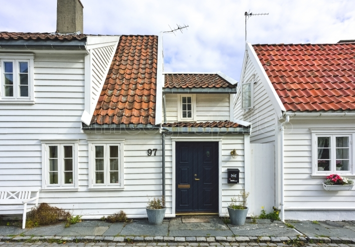Traditional houses and details from old town of Stavanger, Norway