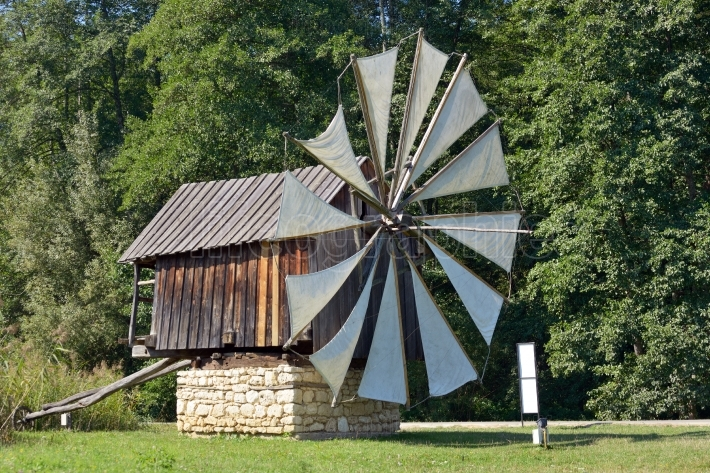 Traditional old windmills in Astra Museum