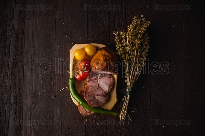 Traditional simple meal setup with meat and vegetables