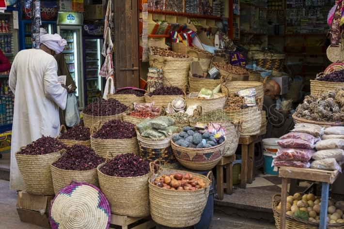 Traditional spices bazaar with herbs and spices in Aswan, Egypt.