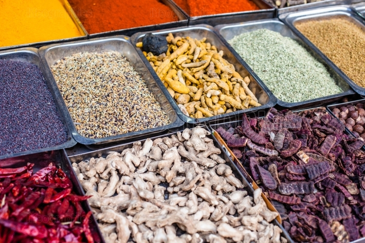 Traditional spices market in India