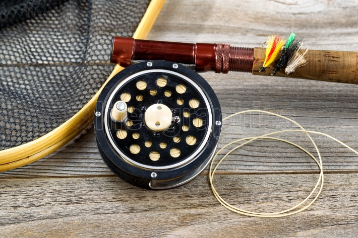 Traditional trout fishing equipment
