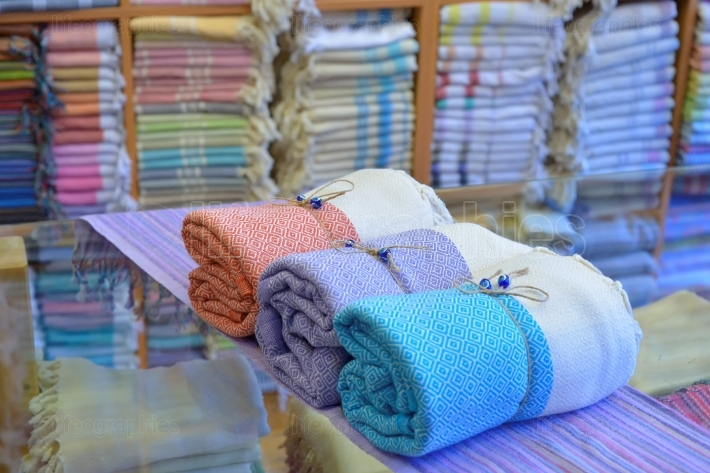 Traditional turkish cotton towels rolled