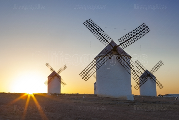 Traditional windmills at rising, La Mancha, Spain