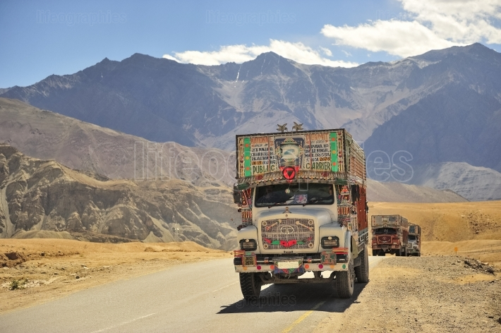 Trucks full of colors on the Ladakh mountain road