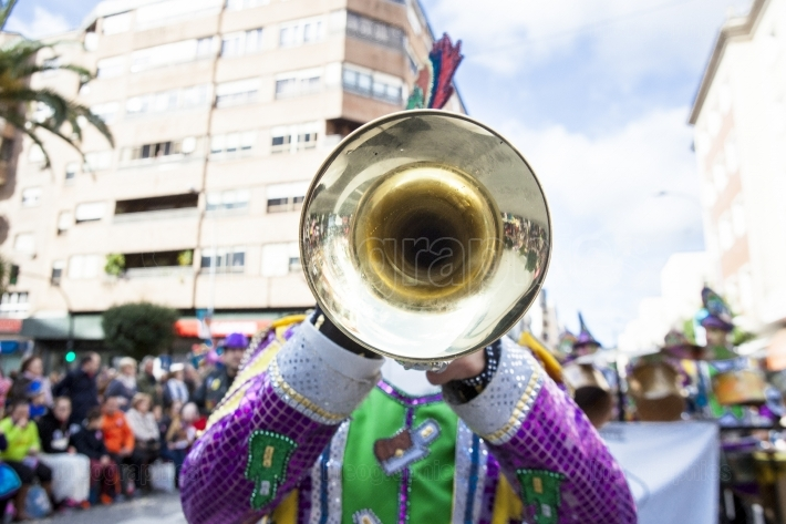 Trumpet musician at Badajoz Carnival, Spain