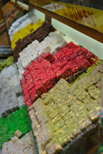 Turkish delight in the egyptian bazaar of istanbul.