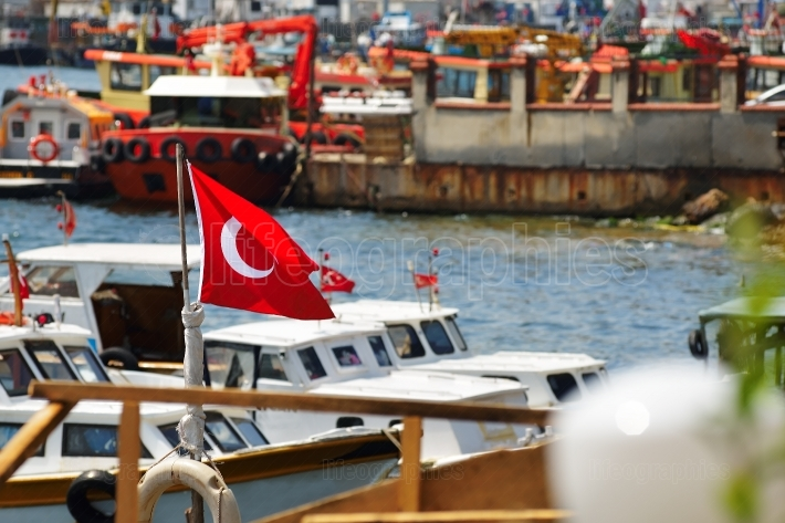 Turkish flag in Istanbul small port