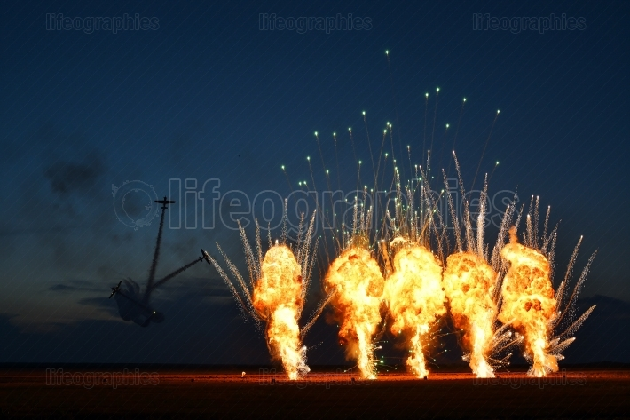 Tuzla,romania - july 02 : pilots performing at tuzla airshow aer