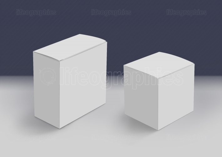 Two 3D White Boxes on Ground Concept Series 131