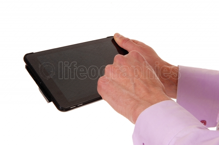Two hands with tablet pc.
