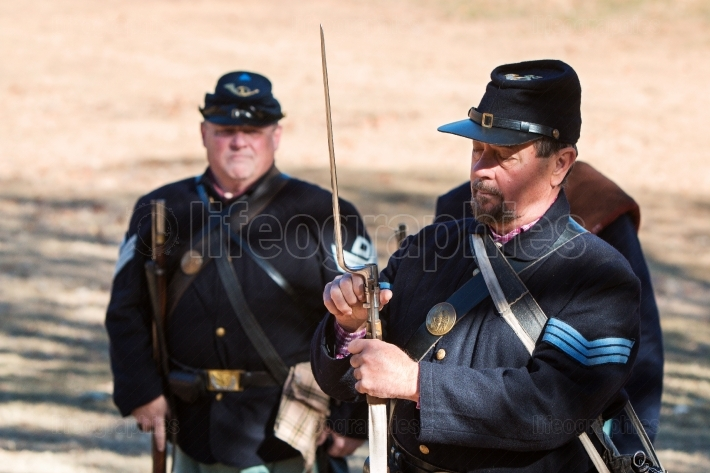 Union Army Civil War Reenactor Demonstrates Bayonet Attachment