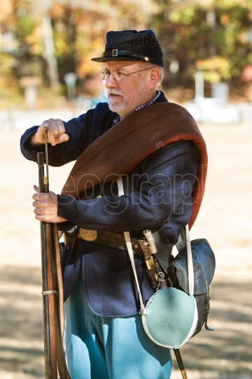 Union Army Civil War Reenactor Demonstrates Musket Loading