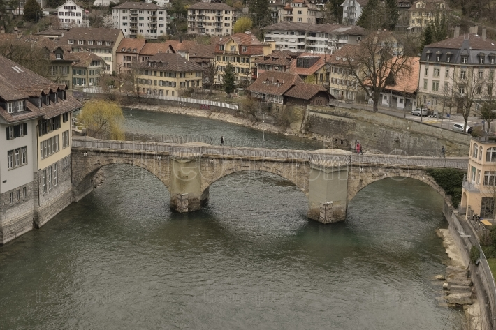 Untertorbrücke over aare river and old city of bern. switzerland.