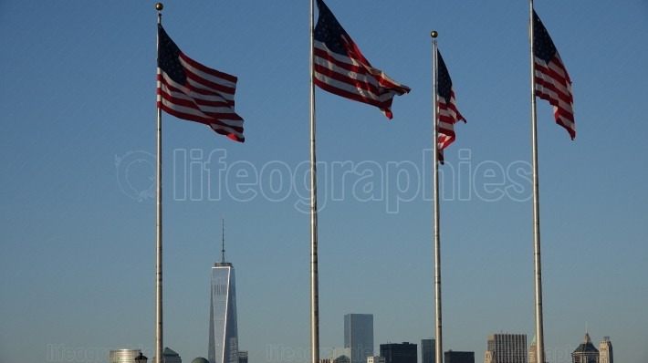 Us Flags And Cityscape