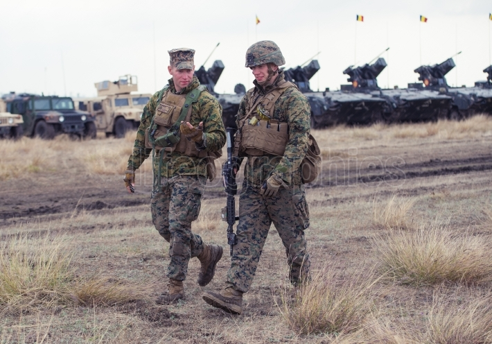 US Marines in military polygon