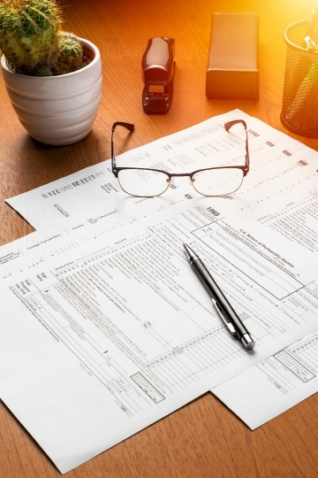 US tax forms on the table with the eyeglasses, pen and cactus