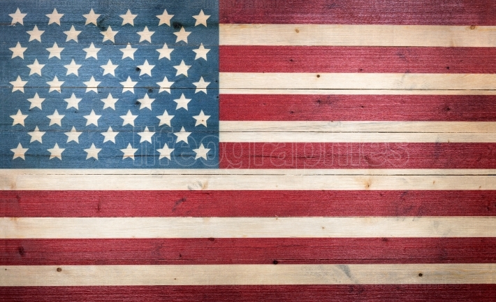 USA flag painted on faded wooden boards