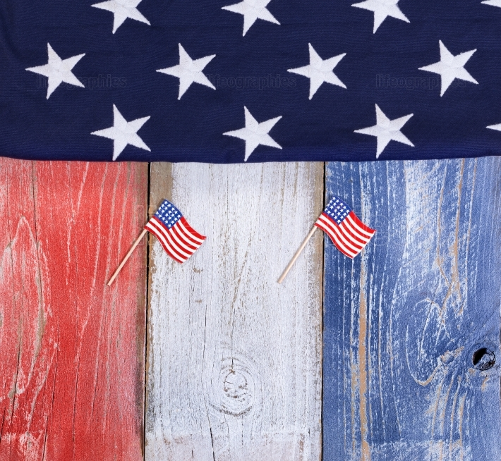 USA flags on rustic wooden boards painted in national colors