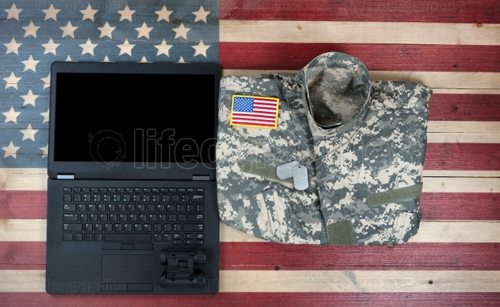 USA Military and Modern Technology on rustic wooden flag