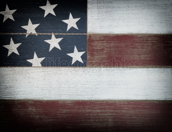 USA national colors painted on faded wooden boards with vignette