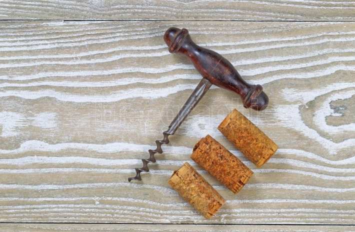 Used Corks with Vintage Corkscrew Opener