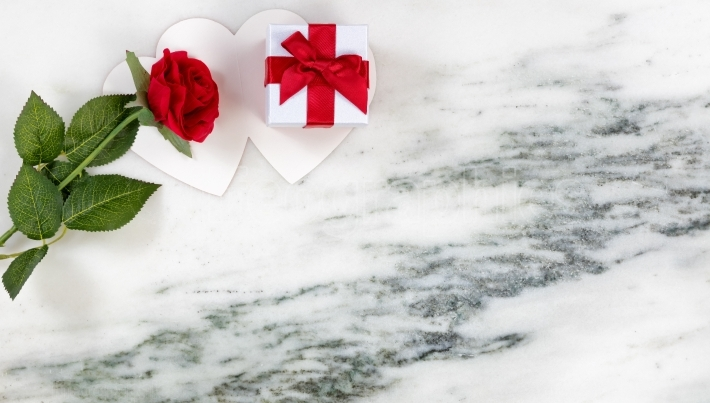Valentines Cards with lovely Red Rose and Gift on Marble