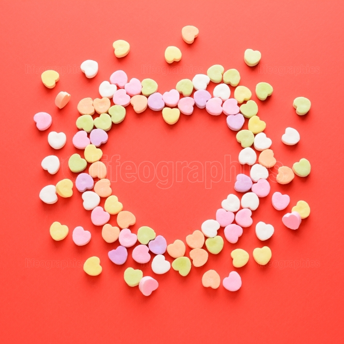 Valentines Day Candy in a Heart Shape