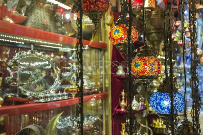 Various old lamps on the Grand Bazaar in Istanbul