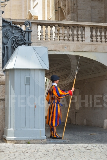 Vatican Swiss guard in Vatican, Rome, Italy