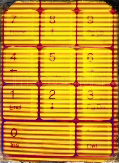Vertical yellow matrix keypad abstraction background