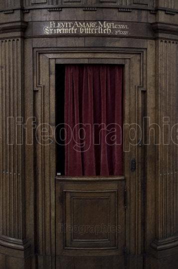 Very old confessional booth
