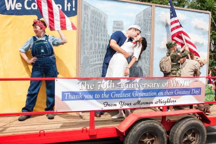 Veterans parade float honors 70th anniversary of world war ii