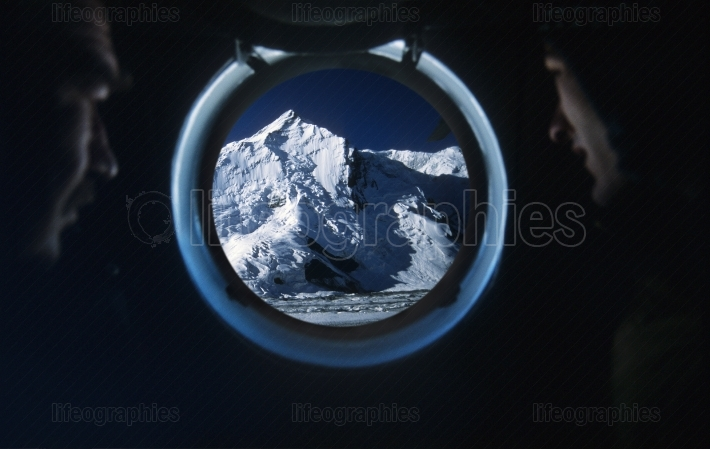 View  of khan tengri peak from a soviet helicopter