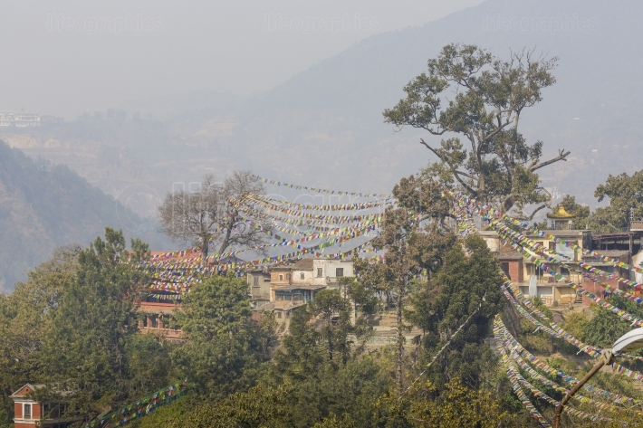 View above kathmandu, nepal, viewed from the swayambhunath templ