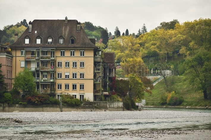 View of aare river and old buildings  of bern.