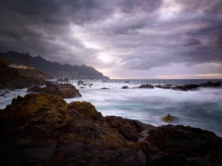 View of Benijo beach on cloudy evening, Tenerife, Canary islands