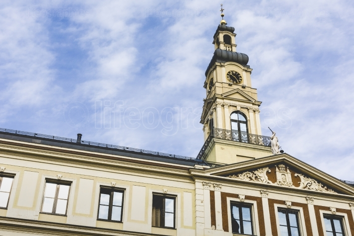 View of City hall and the main square in old city of Riga, Latvi