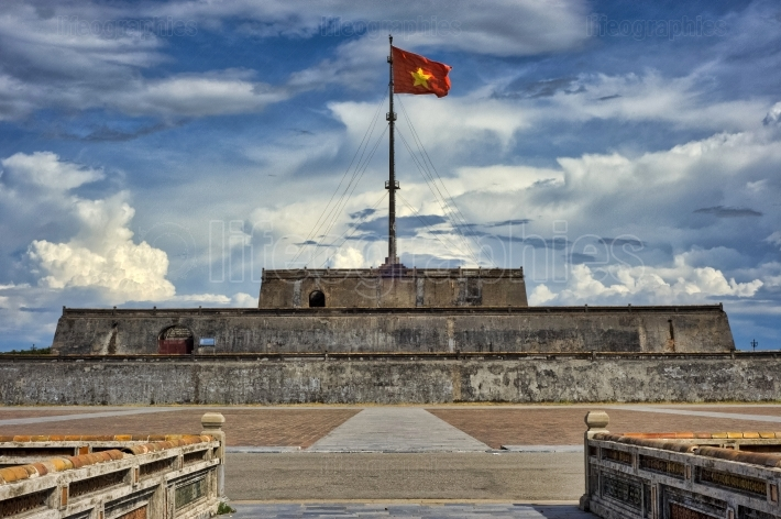 View of Flag Tower Cot Co, moat and walls of the Citadel of Hue city