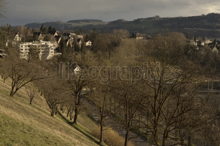 View of history castel museum of bern from rosengarten on sunset. switzerland.