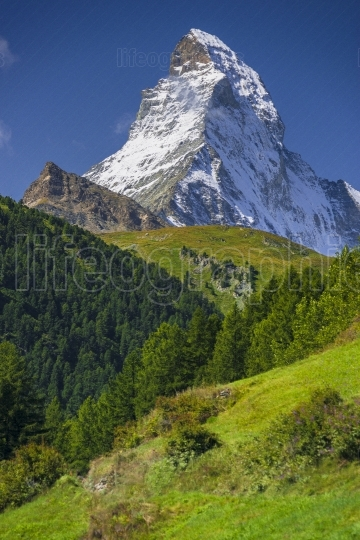 View of Matterhorn peak in the Alps