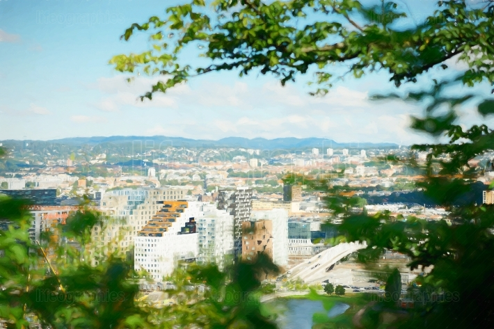 View on Oslo from the hill city illustration background